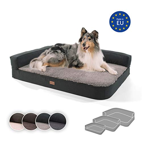 brunolie Odin großes Hundesofa in Grau, waschbar, orthopädisch und rutschfest, Hundekissen mit Abnehmbarer Lehne, Größe L (120 x 80 x 12 cm)