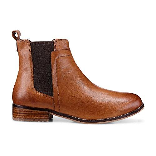 Cox Damen Chelsea Boots, brauner Leder Stiefel mit rutschhemmender Gummi-Laufsohle Braun Glattleder 39