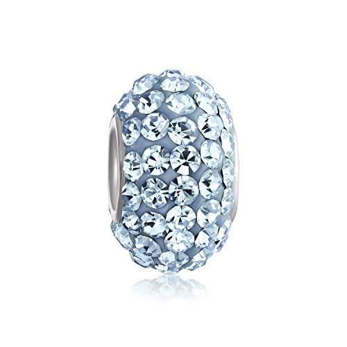 Bling Jewelry .925 Sterling Silver Blue Topaz Color Swarovski Crystal Bead Compatible with Pandora Bead Bracelet