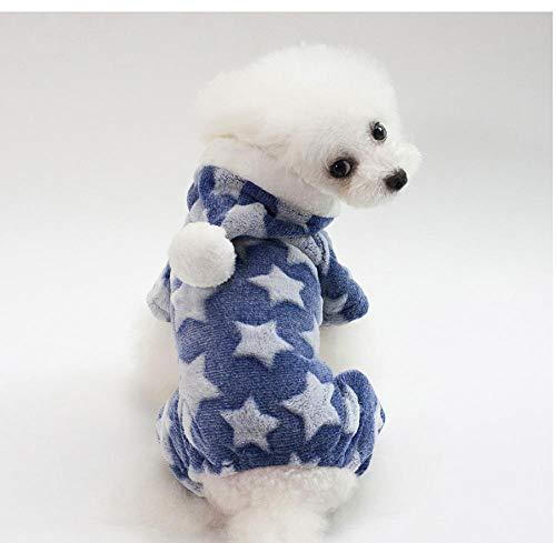 MUXIAND Huisdier Hond Kat Kleding Winter Warm Flanel Puppies Kitten Zachte Luipaard Print Jas Kleding Kitty Jassen Blauw, XXL, Blauw
