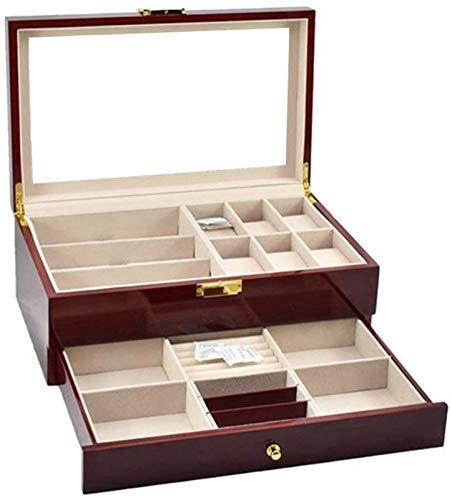 KEEBON Reloj Storange Boxes Watch Gafas Funda Multifunción Doble Pantalla de Almacenamiento Caja de exhibición de joyería de joyería de joyería