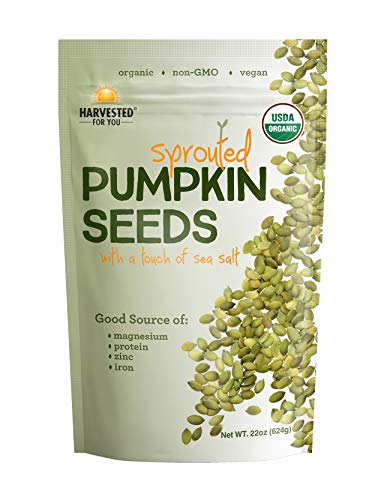 Harvested For You Sprouted Pumpkin Seeds with Sea Salt 22oz Bag, Non GMO, Keto Snacks, Paleo, Gluten Free, Vegan, Organic, Plant Based, High Protein, Low Glycemic Index, Peanut Free Facility