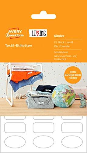 AVERY Zweckform 62033 Living textiel etiketten (wasmachine- drogerbestendig, diverse formaten) 15 stuks wit pak 1 stuk 15 Stuk wit