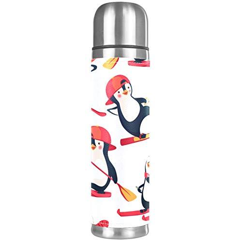 Haminaya Thermoskanne 500ml Pinguin-Skaten Trinkflasche Edelstahl Isolierkanne Doppelschicht Vakuum Kaffeekanne 24 Stunden Wärmeschutz 26x6.7cm