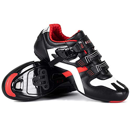 BUCKLOS Road Cycling Shoes Men, Precise Buckle Strap Mountain Bike Shoes Sneakers Spin Shoes MTB Bicycle Shoes Compatible with Peloton SPD/SPD-SL & Look Delta Lock/Unlocked
