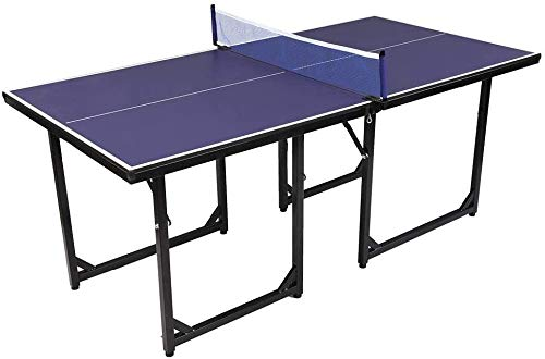 OLYM STORE 6' x 3' Mid-Size Table Tennis Table,Multi-Purpose Ping Pong Table Kid Game Set,95% Preassembled with Easy Attach and Remove Net
