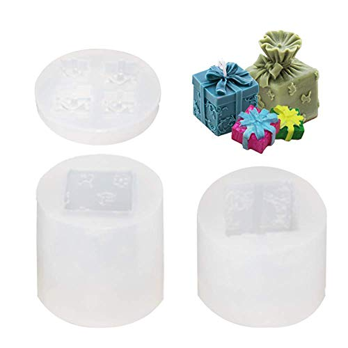 Birthday 3D Gift Box Resin Mold for Mom Women Silicone Epoxy Moulds Casting Handmade Ornament Decor Festival Party Cake Decoration Mold DIY Chocolate Candy Soap Craft Candles