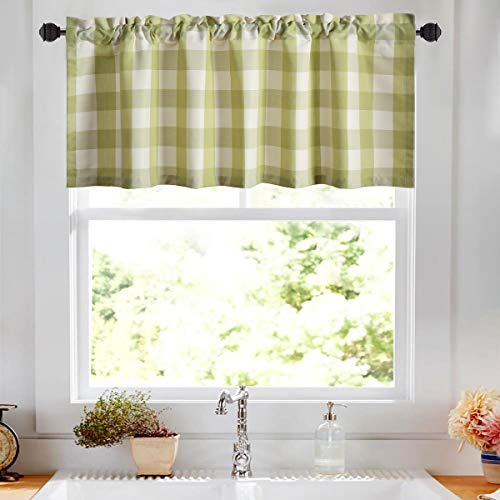 VOGOL Buffalo Check Green and White Gingham Plaid Valances for Windows of Kitchen Leaves Printed Linen Textured 18 Inch Long Rod Pocket Valance for Small Windows, One Panel