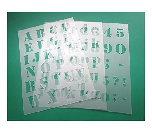 3 teiliges Schablonen Set Nr.5 | Alphabet Druckbuchstaben groß 3cm, passende kleine Buchstaben und Zahlen | für Scrapbooking DIY | Stencil | Malerschablone