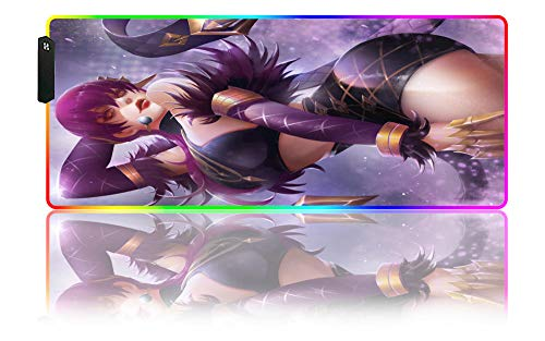 Mouse Pads KDA Anime Girl RGB Gaming Mouse Pad LED Large Gaming Extended Size Desk Mat Non-Slip Rubber Base Stitched Edges Computer, PC Laptop,(C) 35.43x15.74x0.15 inch