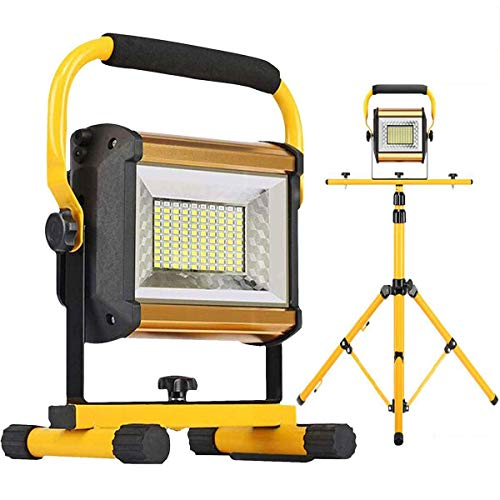 Photo of Rechargeable Flood Lights 100W 8000LM LED Portable Work Light with Tripod Waterproof Outdoor Camping Light Construction Job Site Lighting Level 3 Brightness Adjustable, Blue & Red Emergency Flashing