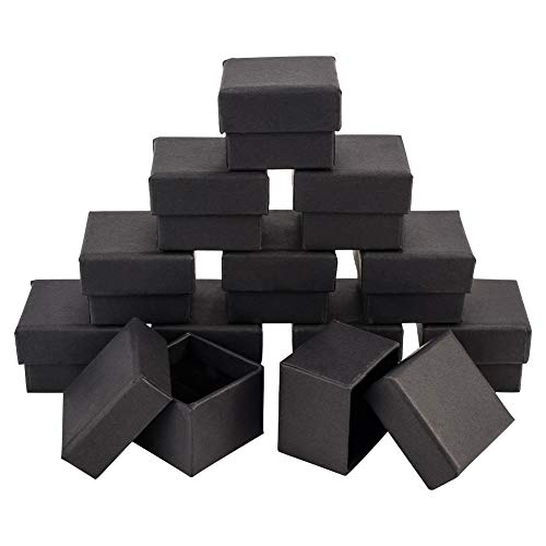 NBEADS Jewellery Box, 20 Stück Karton Quadratische Geschenkbox mit Schwarzem Schwamm, Schwarz, 4.5×4.5×3 cm