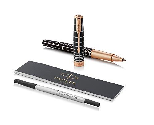 PARKER Sonnet penna roller, laccatura marrone con effetto gommato e finiture in oro rosa, pennino sottile - Confezione regalo