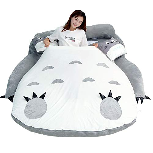 ZZYYLL Totoro Bedding Set My Neighbor Totoro Cartoon Anime Duvet Cover Single Double King Quilt Covers Pillowcase Sheets Bed Sets for Childs Bedroom,Barking Teeth,190120cm