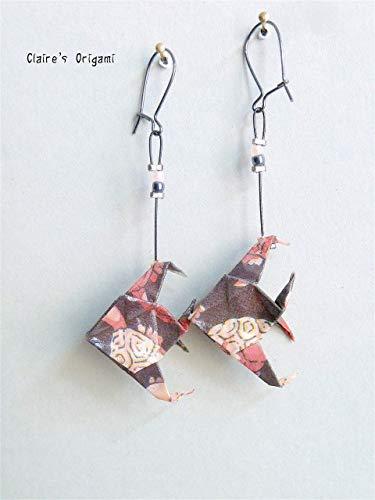 Dunkelgrau, Rosa und Hellrosa Große Fisch Origami Ohrringe/im gefaltetem Papier/Geschenk für Frauen