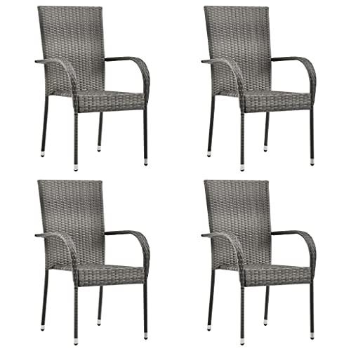 Stapelbare Gartenstühle, Outdoor Stapelstuhl Garten Esszimmerstuhl Patio Sessel Stapelbare Outdoor Stühle 4 Stück Grau Poly Rattan