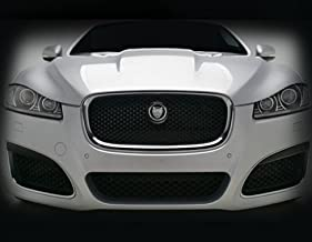 Mina Gallery Chrome/Black Main Mesh Grille Replacement Assembly w R emblem for Jaguar XF & XFR 2012-2015 models
