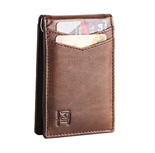 MIN-TAN Slim Bifold Front Pocket Wallet with Money Clip for Men,Effective RFID Blocking & Smart Design (Brown)