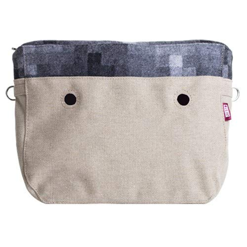 JU'STO Justo Tasche aus Canvas, Innenfutter, Wolle Pixel, Grau