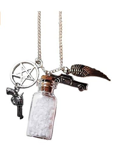 hekui Supernatural TV Series Salt Bottle Protection Charms Necklace on 24 Inch Chain