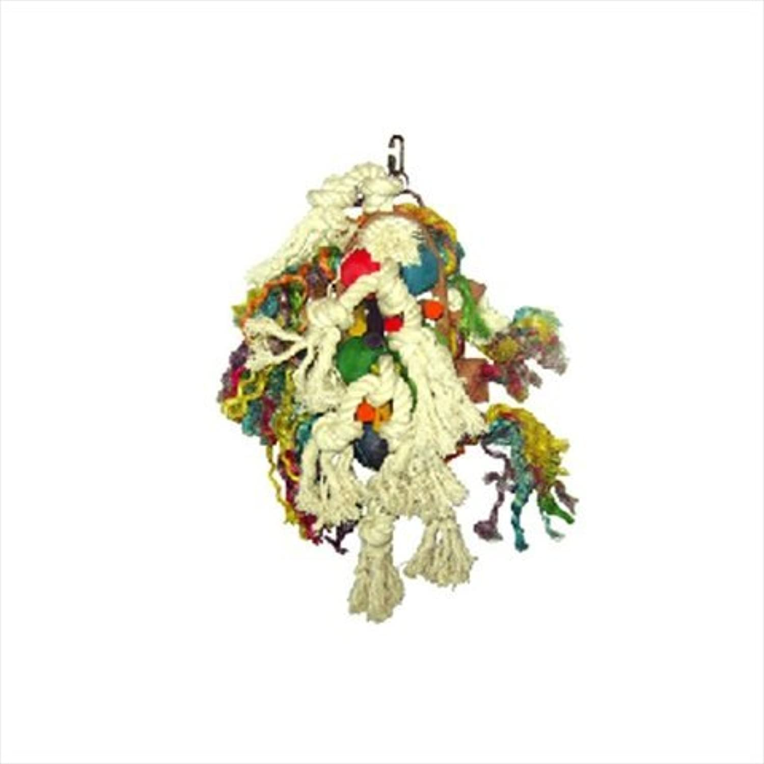 A&E Cage HB46209 Rope& 44; Leather And Wood Cluster Bird Toy