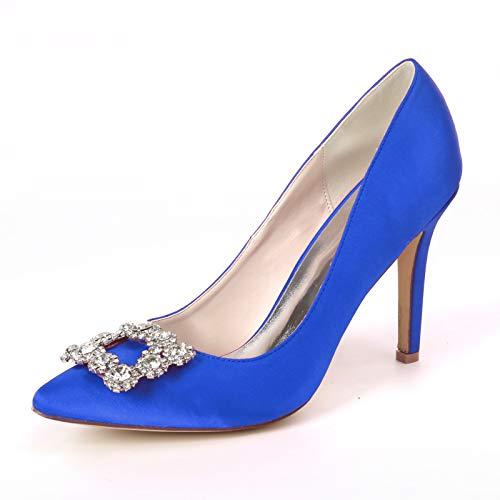 Gycdwjh Tacones de Aguja Zapatos de Tacón, Satén de Encaje Zapatos de La Boda de Mujer Sexy Diamante de Imitación para Banquetes y Fiestas Zapatos de Novia,Royal Blue,35 EU