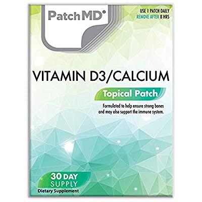 PatchMD Vitamin D3/Calcium Plus™ 30 Daily Topical Patches. 100% Natural & Vegan. Allergy & Filler Free. High Absorption More bioavailable. Suitable for Sensitive stomachs & bariatric.