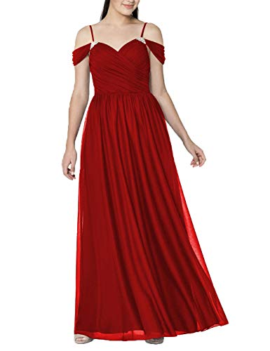 Long Prom Dresses Beaded Chiffon Evening Formal Gowns Maxi Wedding Bridesmaid Party Dress US 18W Red