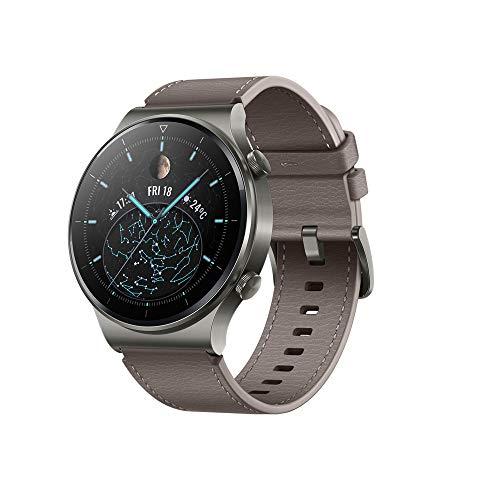 Smartwatch Huawei GT 2 Pro, com 14 dias de vida útil da bateria, monitor de frequência cardíaca à prova d'água, monitor de oxigênio no sangue, Android e Ios, Versão Global (Marrom)