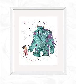 Boo and Sully Prints, Monsters Inc. Disney Watercolor, Nursery Wall Poster, Holiday Gift, Kids and Children Artworks, Digital Illustration Art