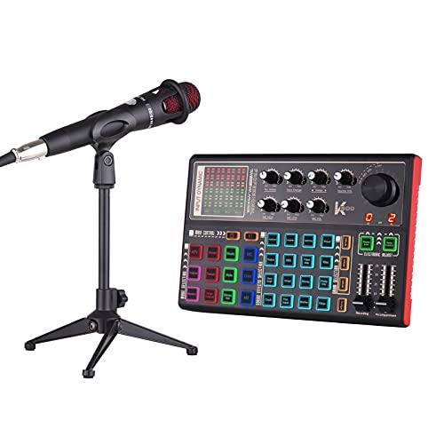 Queenser SK300 Live Sound Card Trocador de voz externo Kit de mixagem de áudio Bateria recarregável embutida Vários efeitos sonoros com microfone e microfone Fone de ouvido para gravação de música ao