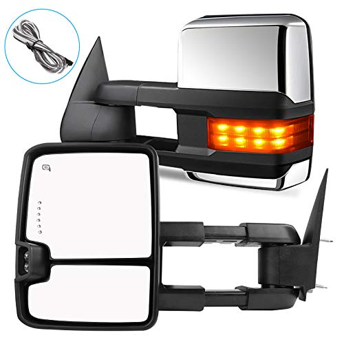AUTOSAVER88 Towing Mirrors Compatible with 2003-2007 Chevy Silverado GMC Sierra 1500 2500 HD 3500, Power Heated Side View Tow Mirrors for Tahoe Suburban Avalanche Yukon