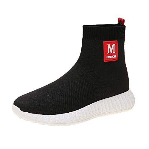 Schoenen-YRQ vrouwen sok laarzen herfst winter vintage laarzen dikke teen halverwege kalf laarzen partij & avond 38 Zwart