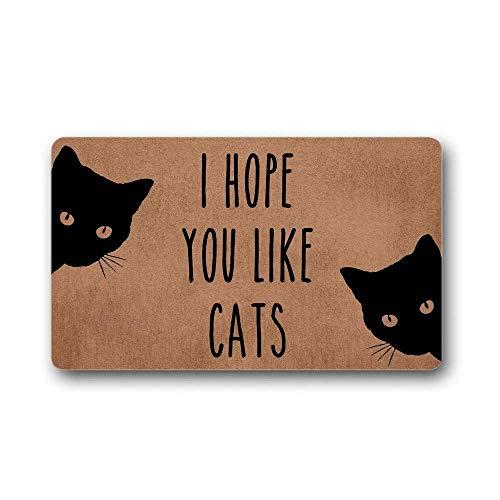 N/A Espero Que te gusten los Gatos, Divertida Bienvenida, Felpudo Personalizado, Alfombra Decorativa para Gatos, mamá, Amante de los Gatos, Alfombra para la Entrada Decoracion Hogar Regalos 24