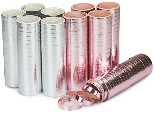 com-four® Luftschlangen metallic rosa und silberfarben - 10 Rollen als Party-Deko für Geburtstage - Papierschlangen für Silvester (10 Stück - metallic)