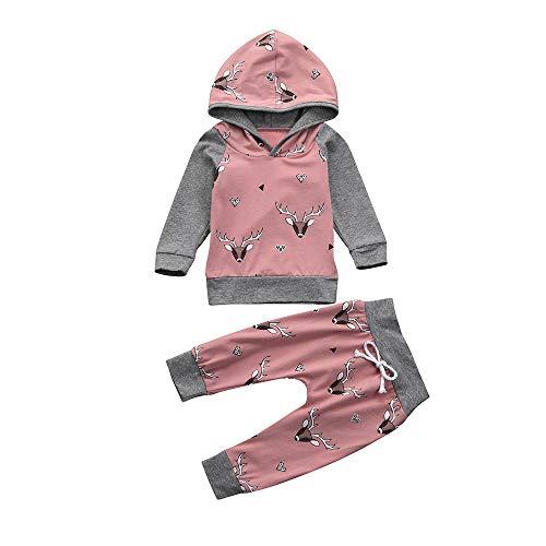 TTLOVE (0-24 Monate) Baby Jungen Schädeldruck Kleidung Anzug (Langarm Pullover Tops + Hosen) Herbst Suit Outfits Mit Kapuze Babykleidung (Rosa,90 cm)