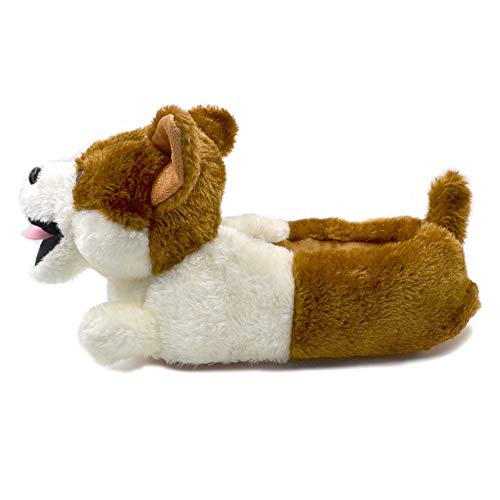 MIAOMIAOGI Classic pluche Corgi Slippers Pluche Hond Dier Slippers Bruin en wit Kostuum Schoeisel, 11, A