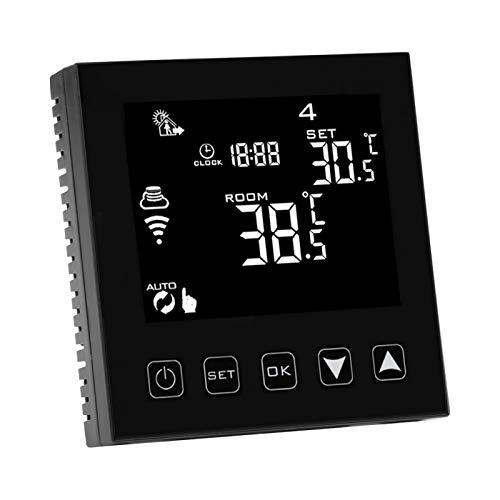 Termostato digital de pared táctil, termostato WiFi, control remoto negro eléctrico para oficina en casa