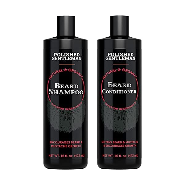 Beard Shampoo and Conditioner Set - Beard Wash and Conditioner for Men with Biotin & Tea Tree - Mens Best Beard… 1