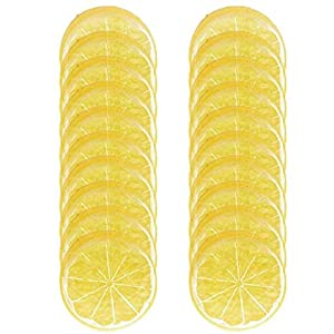 HORNO 20PCS Mini Small Simulation Lemon Slices Plastic Fake Artificial Fruit Model (Yellow)