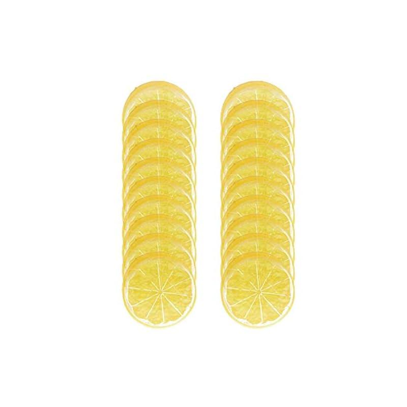 silk flower arrangements horno 20pcs mini small simulation lemon slices plastic fake artificial fruit model (yellow)