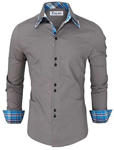 TAM WARE Mens Trendy Slim Fit Inner Checkered Button Down Shirt TWNMS323S-GRAY-US XL