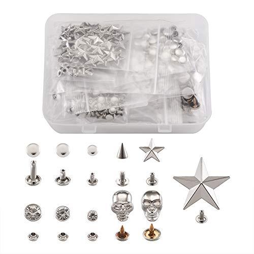 Cheriswelry. 640 remaches de cuero de cristal punk decorativos de mano de prensa de clavos para ropa, bolsa de zapatos, manualidades
