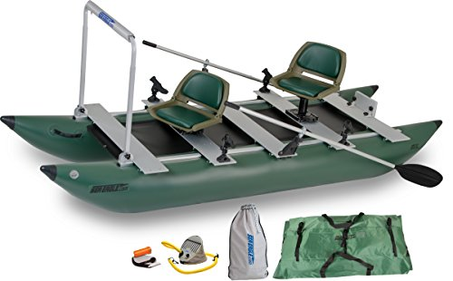 Best Prices! Sea Eagle Green 375fc Inflatable FoldCat Fishing Boat - Pro Angler Guide Package