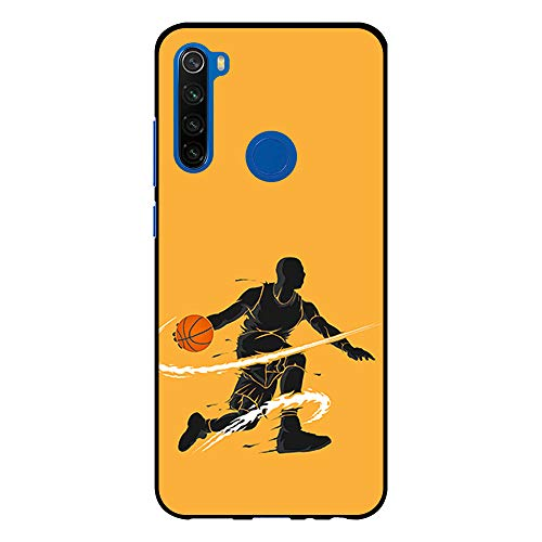 BJJ SHOP Funda Negra para [ Xiaomi Redmi Note 8T ], Carcasa de Silicona Flexible TPU, diseño : Jugador de Baloncesto regate
