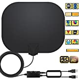 TV Antenna - Amplified HD Indoor Digital TV Antenna Long 250+ Miles Range Antenna Support 4K 1080p Fire Stick and All Television Indoor Smart HDTV Antenna for Local Channels VHF UHF-17ft Coax Cable