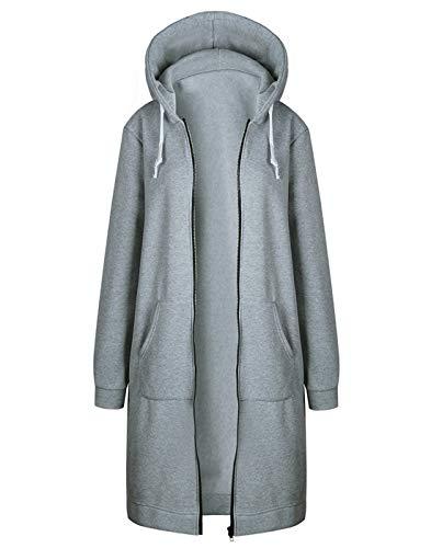 Hifanmall Damen Strickjacke Casual Mantel Hoodie Zipper Hoodies Sweatjacke Langer Manteljacke Oversized Coat Outwear Kapuzenpullover, Grau, 50