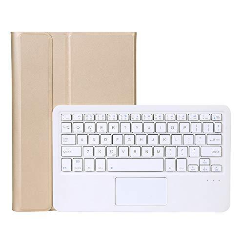 QiuKui Tab Funda para Samsung Galaxy Tab S6 Lite, Split Touch Bluetooth Keyboard Flip Tablet Funda PU Cuero Stand PC Shell para Samsung Galaxy Tab S6 Lite P615 P610 (Color : Gold White Keyboard)