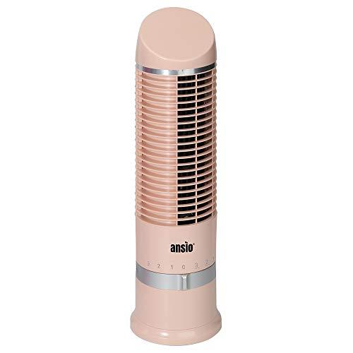 ANSIO Ventilador de Torre compacto y oscilante, ventilador vertical con 3 velocidades ideal para escritorio, mesa de noche, hogar u oficina-Oro Rosa