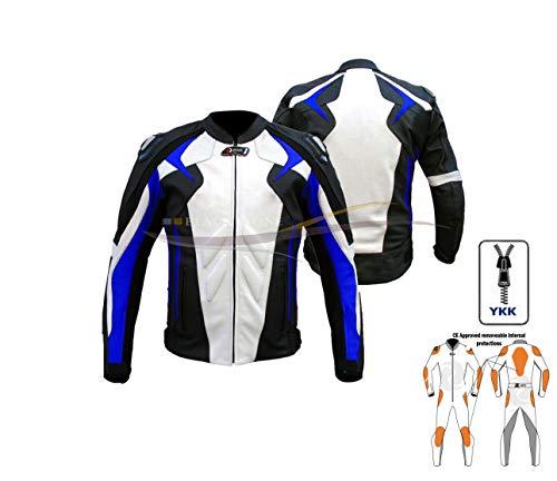 Motorradjacken für Männer Motorrad-Jacke in weiß und blau Motorradjacken für Männer/Frauen gepanzert zens Leder (M)